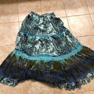 Blue printed maxi skirt